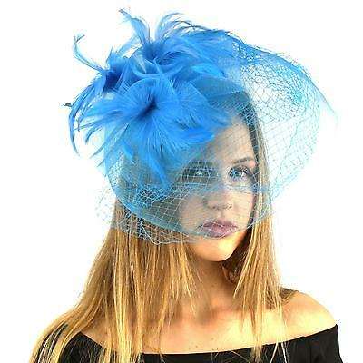 Fancy Big Birdcage Dual Veil Feathers Headband Fascinator Cocktail Hat Turquoise