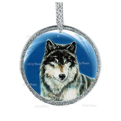 Wolf Ornament Blue Wolf Picture Christmas Tree Ornament