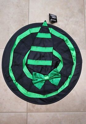 New Halloween Witch Hat Women's Black Costume Party Adult Gothic Green Striped
