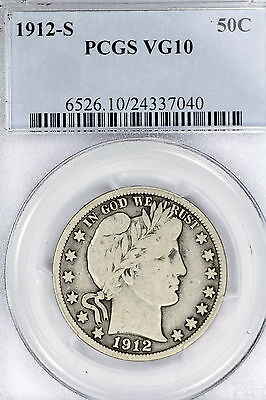 1912-S VG10 Barber Half Dollar 50c graded by PCGS as Very Good!