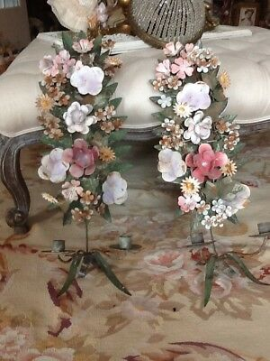 SHABBY ANTIQUE Vtg Tole Sconces Pair FLOWER ROSES OLD METAL ITALIAN FRENCH