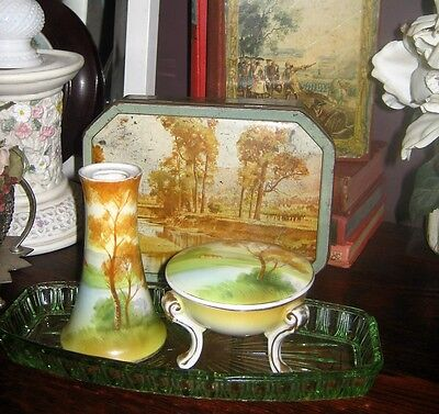 Noritake (Nippon??) Dresser set pieces (unsigned) with complementing tin