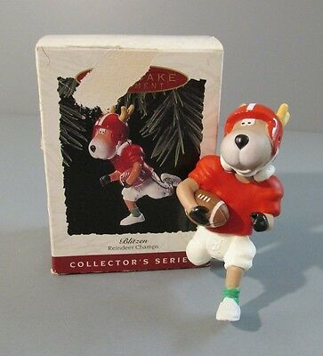 "1993 Hallmark ""Blitzen"" Reindeer Carrying Football Ornament - 8th in Series"