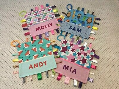 Babies Personalised Taggy Security Blanket - Various Designs - Girls or Boys -