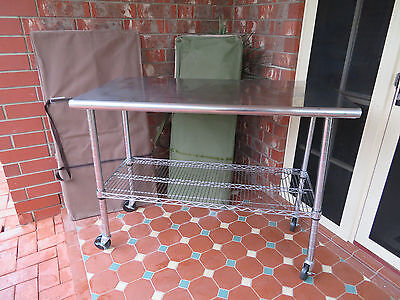 2 x Stainless Steel serving trolleys