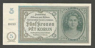 Bohemia & Moravia 5 Korun N.D. (1940); EF+; P-4a; Not Perf.; ser. H; WWII issue