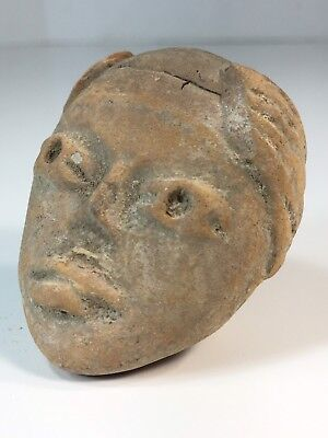 Ancient Pre-Columbian Mayan Stone Artifact Deity Figure Head Statue Mexico.