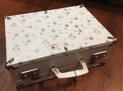 Vintage White Silver Stars Metal with Latch Roller Skate Case Suit Case Box Keys