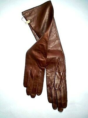 1960s Brown Kid Leather Fashion Gloves ~ Size 6 1/2 ~ Never Worn ~ Kay Fuchs