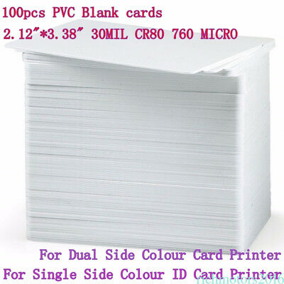 100 x Blank White PVC Plastic ID Cards CR80 - 760 Micron - 86 x 54mm Sale to16