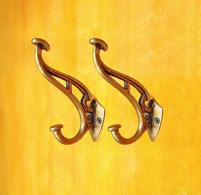 LOT OF 2 PCS HOOK HANGER Solid BRASS ANTIQUE Vintage Style Coats Hat Wall Mount