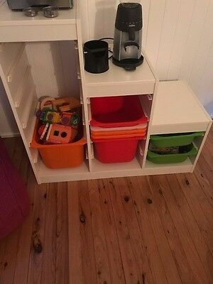 Ikea kids shelving with buckets