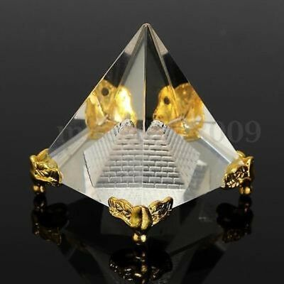 Small Feng Shui Egypt Egyptian Crystal Clear Pyramid REIKI Heal Prizm Amulet