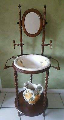 Antique Cash Family Pottery 1945 Pitcher And Wash Basin Yellow Flower Wood Stand