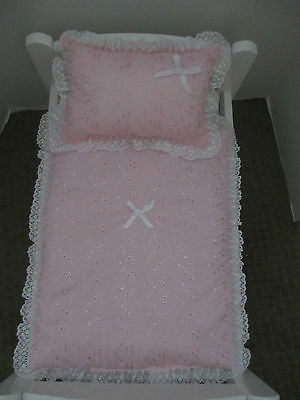 """Quilt & Pillow set suitable for Doll's,Pram,Cradle,Cot,Bed,""""Broderie Pink"""""""