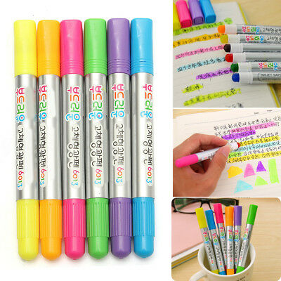 6Pcs 8MM Color Highlighter Fluorescent Gel Solid Paint Pen Drawing Marker New