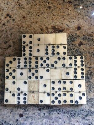 Antique/Vintage Bone/Wood Dominos With Brass Pin