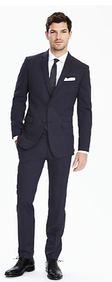 Nwt Banana Republic Slim Solid Navy Wool Suit ( All Sizes ) 2017 Collection