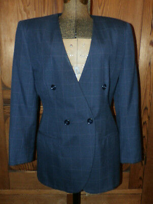 sz 8 Vintage Suitables Bonnie Brownfield Fall Office Navy Blazer Maroon PinCheck