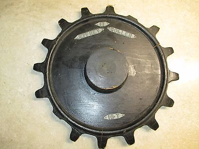 Antique Wood Industrial Foundry Pattern Mold Gear Cog Jeffrey Roller  15""
