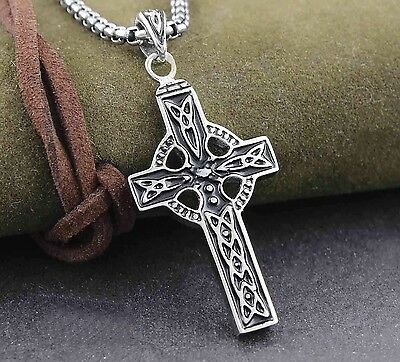 316L Stainless Steel Gothic Celtic Cross Men's Biker Charm Pendant Necklace