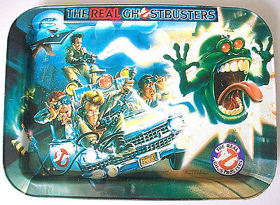 THE REAL GHOSTBUSTERS METAL FOLDING TRAY 1986 TV MOVIE ECTO-1 SLIMER PUFT 80s