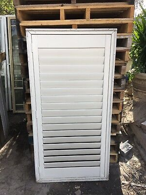 White Aluminium Window With Timber Reveal And Plantation Shutter 835w X 1645h