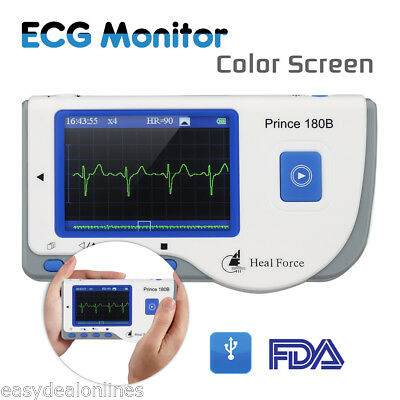 Heal Force 180B 1-40Hz Portable Moniteur ECG LCD USB Heart Rate 30-240bpm FDA