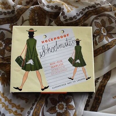 Vintage 60's Holeproof Schoolmates Non Run Seamless Stretch Stockings College 2