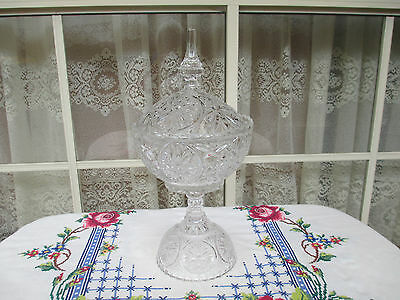 Beautiful Ornate Vintage Crystal Cut Glass Footed Covered Compote-Candy Bowl