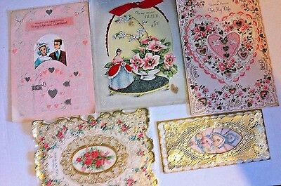 Lot Of 5 Large Vintage Valentine Day Cards With Flaws