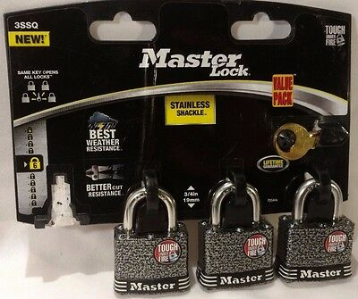 "Master Lock stainless steel 3/4"" shackle padlock MISSING ONE LOCK"