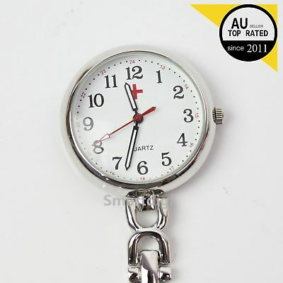 Silver Nurses Fob Watch Luminous Hands Large Face Easy to Read FREE POST Au Stck