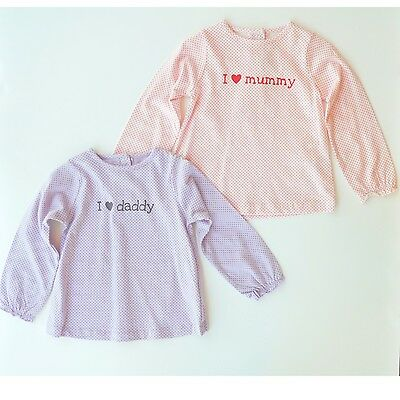 Baby Girl French Tapealoeil I love Mummy/Daddy Long Sleeve T Shirt/Tee 18M/23M