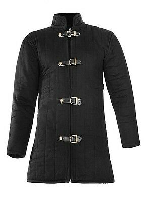 Medieval-thick-padded-Black-Gambeson-coat-Aketon-Jacket-Armor-reenactment-SCA