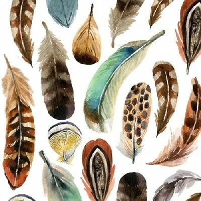 3 Paper Napkins for Decoupage / Tea Parties / Weddings - Country Feathers