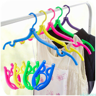 Portable Plastic Hangers Clothing Drying Rack Travel Foldable Clothes Hangers YG