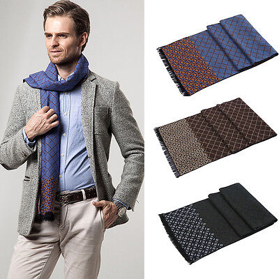 US Soft Cashmere Men Long Scarf Shawl Wrap Business Classic Plaid Double Sided