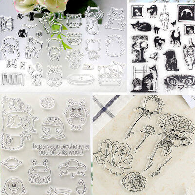 4 Types Rose Cute Animals Stamps DIY Scrapbook Decor Card Making Crafts Clear