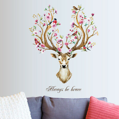 Sika Deer Flower Wall Stickers Vinyl Decal Removable Kid Nursery Decor Mural Art