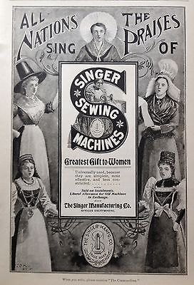 "1898 Ad(1800-18)~Singer Mfg. Co. Sewing Machines, ""greatest Gift To Women"""