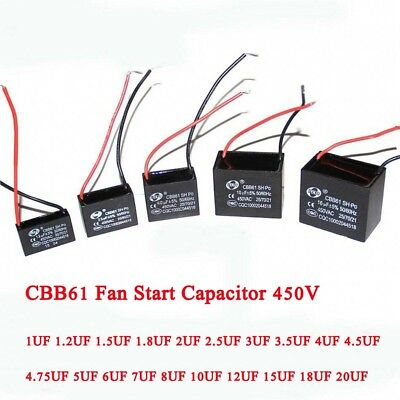 CBB61 Fan Start Motor Running Capacitor 450V 1/1.2/1.5/2/2.5/3/3.5UF- 18/UF20UF