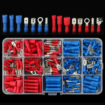 200Pcs Assorted Insulated Electrical Wire Terminal Crimp Connector Spade Set Kit