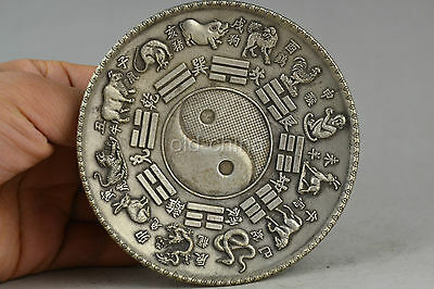 asia china collectible old tibet silver carve 12 zodiac taiji inlay co-in plate