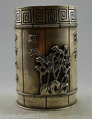 Collectible Decorated Old Handwork Silver Plate Copper Bamboo Slip Brush Pot
