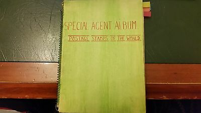 Old  Special Agent Stamp Album: Colonies & World Stamps -Over 1300 Used Stamps.
