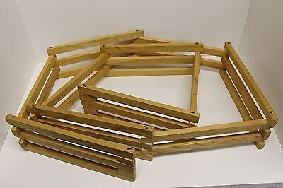 "Vintage Hand Made Wood Toy Horse Folding Fence Corral - 3.75"" x 8' Long, Breyer"