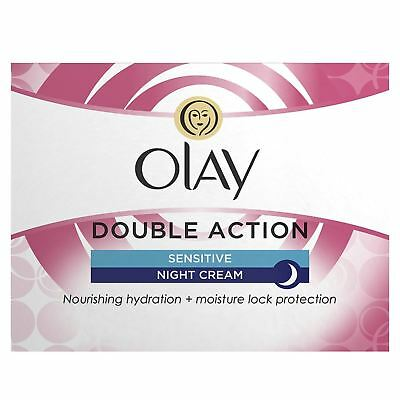 Olay Double Action Anti-Wrinkle Sensitive Skin Night Cream Moisturiser 50ml