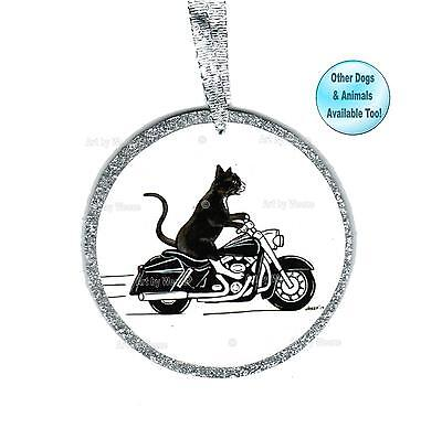 Cat Riding Motorcycle Ornament Black Cat Harley Davidson Christmas Tree Ornament