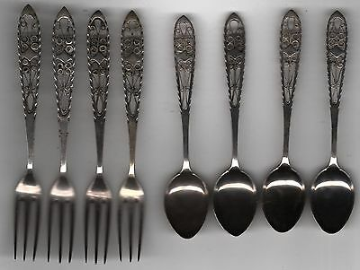 "Set of 4 Solid Silver Filigree Forks & Spoons all Marked ""80"""